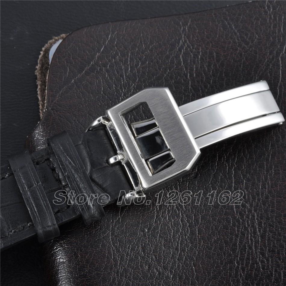 Бесплатная доставка 47 мм Parnis Big Pilot Черный Циферблат Запас хода Автоматическая мужские Часы PA4705SB