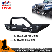 Front Car Bumper for 07-15 Jeep Wrangler JK with 2pcs 30w JK LED Fog Lights and 2pcs 30w led Driving Lights