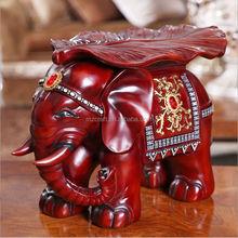 Imitation wood elephant stool home decor wedding gift resin E0095B