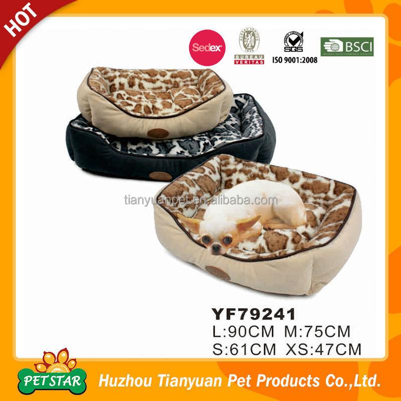Top!!! Waterproof Quilting Fabric Luxury Leopard Fur Design Pet Bed