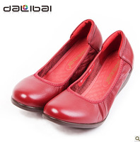 2013 new arrival soft girl casual shoes genuine leather wedges heel women shoes dress shoes