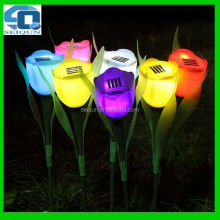 hot sales lawn garden led tulip solar flower light , led flower light