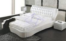 Bedroom Furniture Europe Design Silver foil modern leather king size bed upholsthery bed 9081