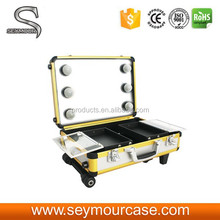 Shiny Yellow Beauty Cosmetic Case with Lights Mirror