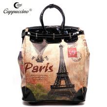 custom gift PU leather travel trolley luggage bag