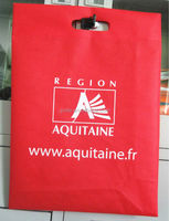 Red non woven die-cut handle bag with custom logo printing
