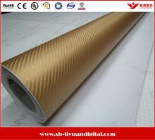 Gold Carbon Fiber Vinyl Sticker, 3D Carbon Fiber Car Wrap Vinyl Roll