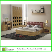 Luxury Royal King Size Bedroom Furniture sets with Leather Bedhead