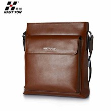 Men's Small Size Classic Brown Business Genuine Leather Messenger Shoulder Briefcase Crossbody Bag