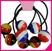 Black elastic hair bands with colorful plastic ball decorate,hair accessories for girl