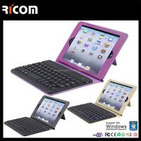 3 folding leather Bluetooth keyboard case,bluetooth keyboard case for IPAD,leather case for ipad--BK514--Shenzhen Ricom
