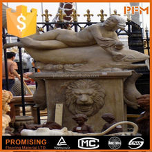 natural well polished beautiful decorative beautiful hand carved outdoor sex girl and lion stone water fountain