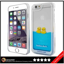 Keno Never Fall Down Girls Liquid Design Hard Clear Case for iPhone 6 (4.7 inch) Floating Rubber Duck Creative Cover