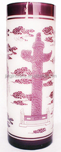 China style overlay hand engraved cut to clear glass pen holders