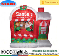 DJ-129 5ft hot red christmas house inflatable santa claus work shop decoration