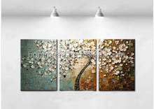 Hand Painted Abstract White Tree Flower Textured Knife Painting On Canvas Modern Oil Picture 3 Piece Wall Art Home