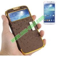 Honeycomb Texture Leather Case for Samsung Galaxy S4 i9500 with Call Display Window