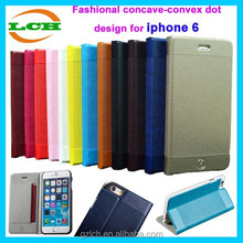 Fashion concave-convex dot design new arrival leather case for apple iphone6+