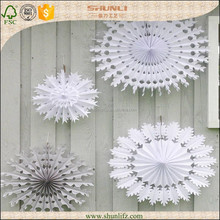 winter party theme decoration white hanging tissue paper snowflake fan
