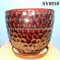 Red fish scales design cheap glazed ceramic planter pot