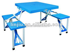 Portable camping folding table and chair set, suitcase folding picnic table and chair set