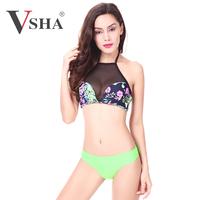 2015 Newest Fashion Sexy Brazilian Sheer Mesh Women Bikini ,Flowers Digital Print Swimwear