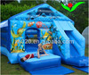 Under sea blue adventure bounce castle with slide 12x18x10ft