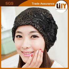 2015 hot sale Korea design black lace beanie hat for hot girls