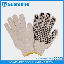 GuardRite Brand Hot Selling Cotton Work Gloves With Rubber Grip Dots C-3001