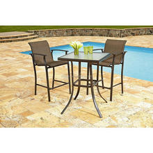 2015 new arrival patio steel high table for small space with rattan bar stool