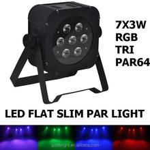 IR remote 7*8w RGBW / 7*3W RGB slim LED par light DMX512 stage flat PAR 64