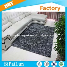 cheap hand made black color plain 1200D yarn shaggy carpet