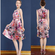 Sleeveless round neck ladies casual printed dresses made in china