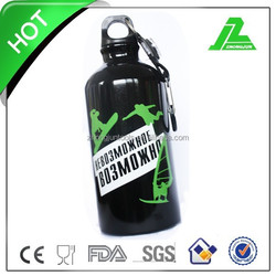 With Carabiner and Compass Silk-screen Black Sport Water Bottle