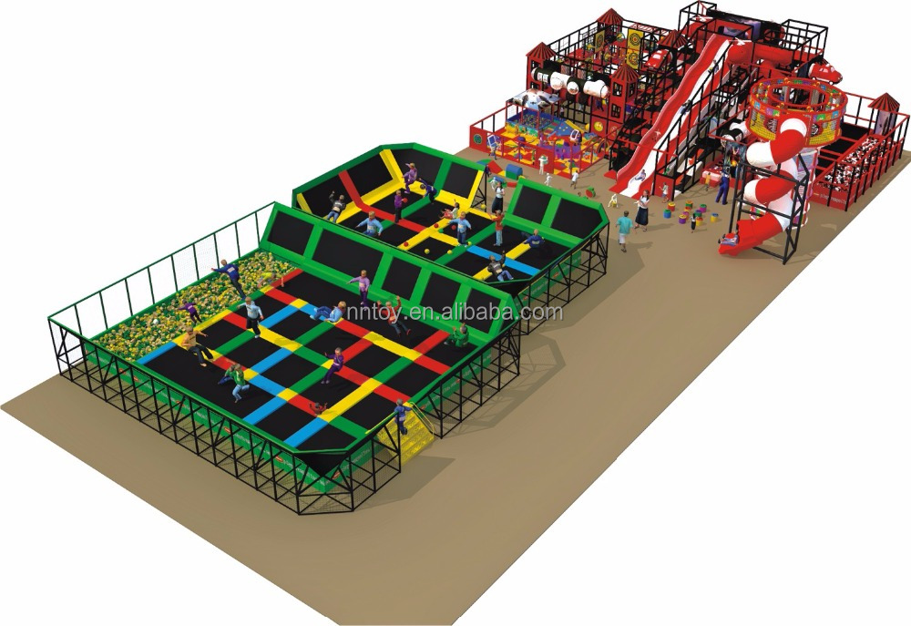 2015 new design fashion commercial indoor large trampoline for Indoor trampoline park design manufacturing