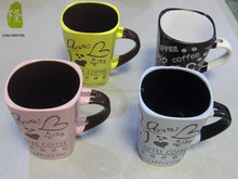 Hot sale square coffee mug with spoon hand painting wholesale
