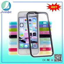 Hrad back plastic clear cover case for iphone 5 with color tpu bumper