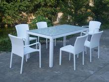 Garden set white rattan table chair furniture/ Patio glass dining set