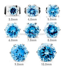 Crystal Ear Stud With Different Sizes, Cz Blue Royal King Crown Flower Vintage Elegant Earrings, Women's 3~10mm Stainless Steel