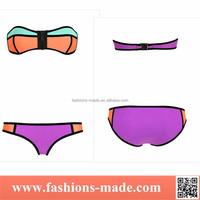 Assorted Color Zipper Strapless Bandeau Bikini