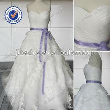 Elegant Strapless Wedding Dress Organza Ruffle Skirt