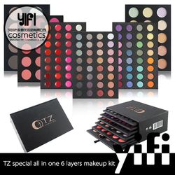Cosmetic distributor TZ 6layer 134colors privat label eyeshadow palette