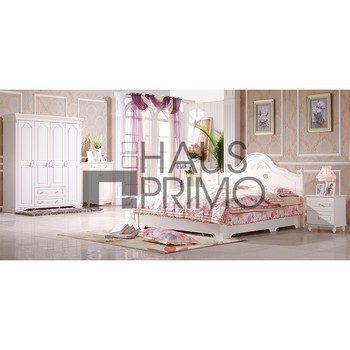 5pcs bedroom furniture sets for adult white wooden double size bed