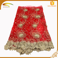 Discount high quality elegant polyester gold metallic african guipure embroidery lace fabric SD-PM023