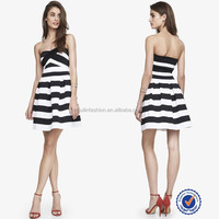Ankle length girls dresses new black and white stripes dress portugal women clothing