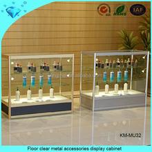 Floor clear metal accessories display cabinet