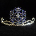 De lujo del pelo accesorios de plata cristal plateado del copo de nieve de la tiara y venda de la corona