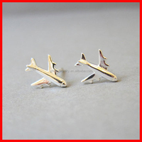 2015 cheap 925 sterling silver jewelry wholesale plain silver airplane earring