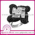 anillo de calavera flor cuatrada de 925 plata con circones