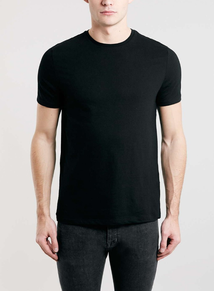 Black slim crew t shirt china wholesale hemp t shirts bulk for T shirt plain black